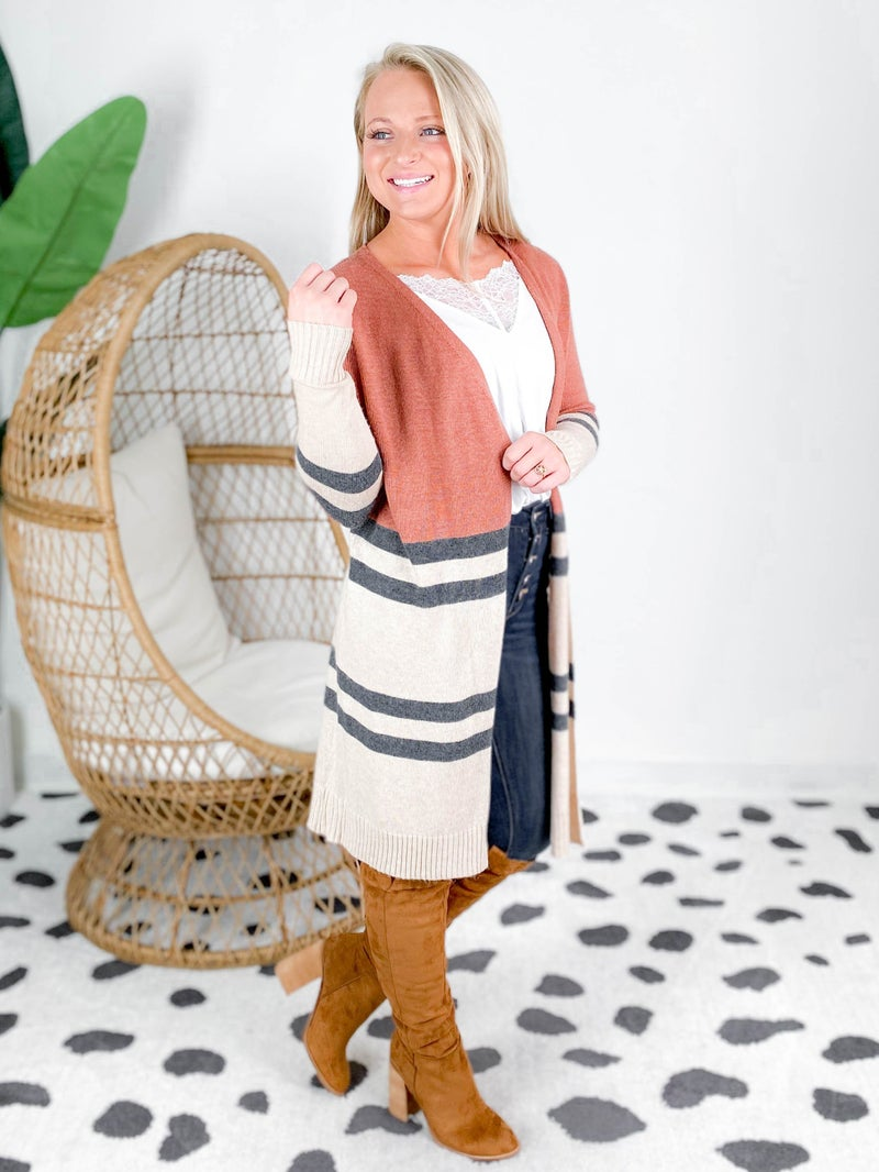 Long Sleeve Color Block Cardigan With Pockets (Multiple Colors)