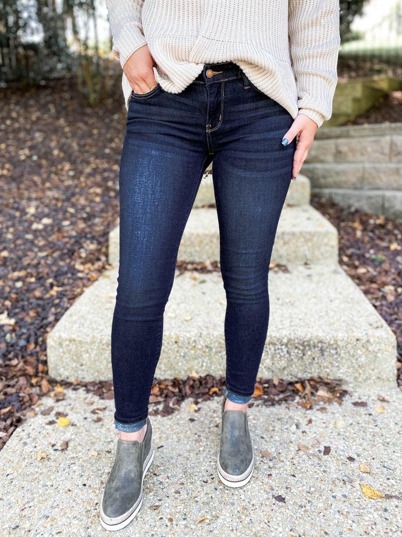Plus/Reg Judy Blue Dark Wash Everyday Wear Non-Distressed Skinny Jeans  - Best Seller!