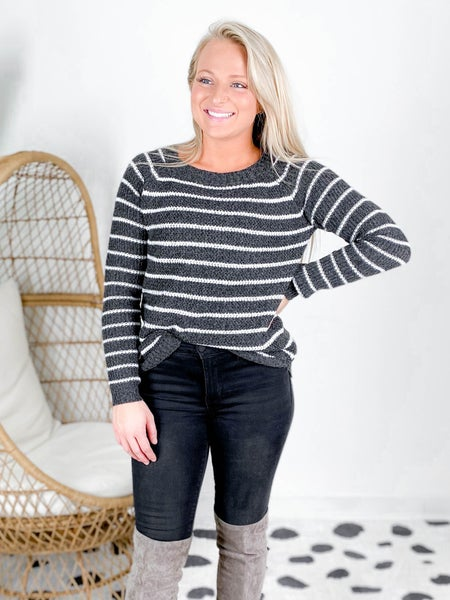 Crew Neck Striped Pull Over Sweater (Multiple Colors)