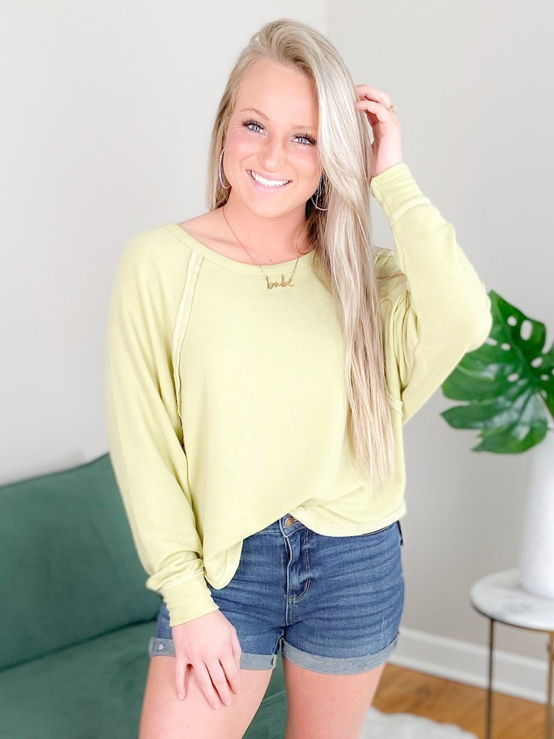 Solid Long Sleeve Loose Fit Top