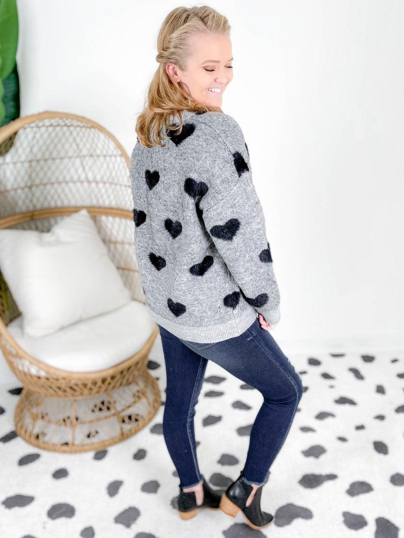 Fuzzy Heart Embellished Grey Sweater