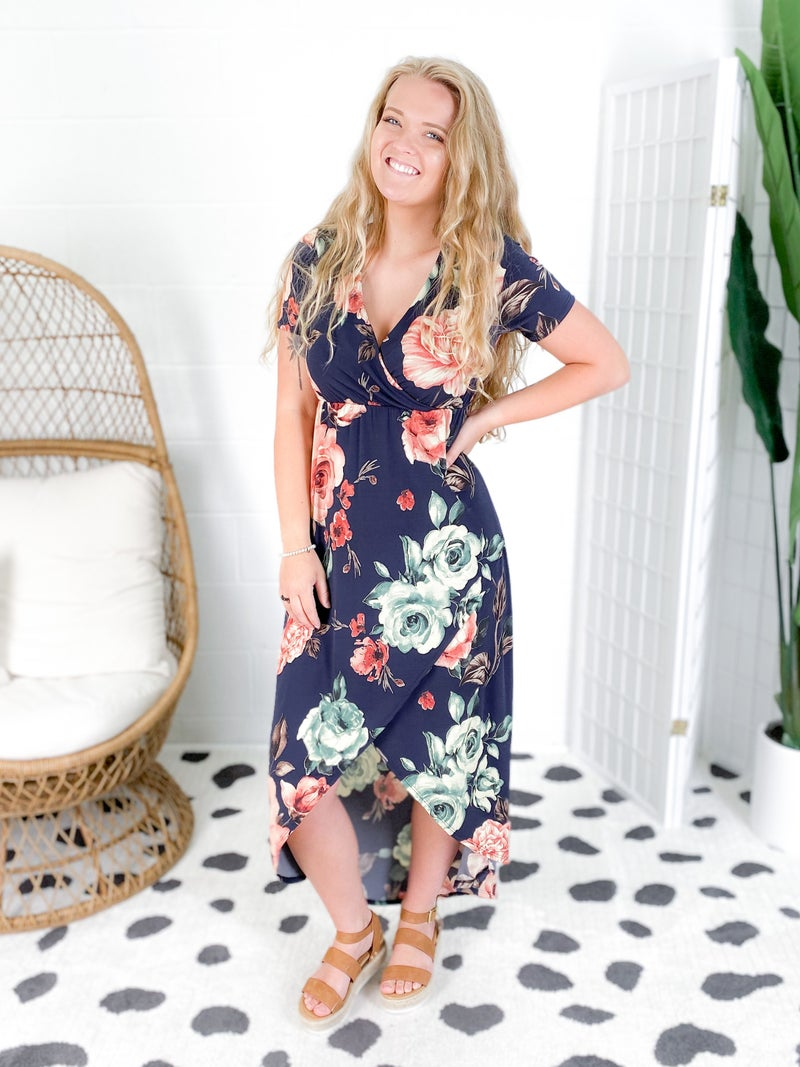 Navy Floral Knit Midi Dress with Tulip Skirt