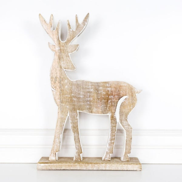 Large Wood Deer with Snowflake 12x19