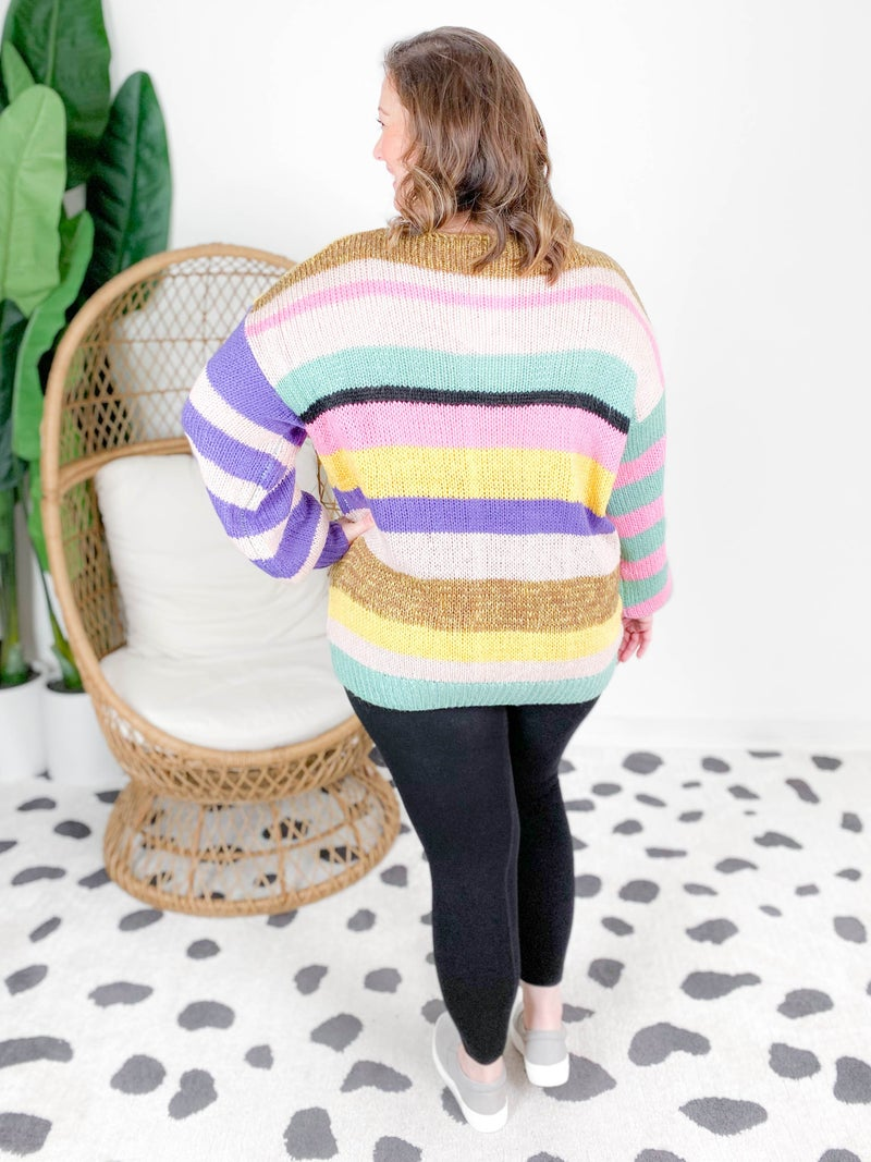 Multiple Stripe Bubble Sleeve Sweater (Multiple Colors)