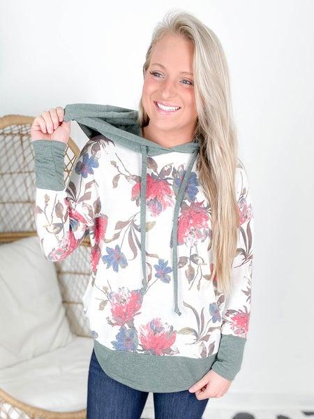 Plus/Reg Long Sleeve Floral Print Hoodie