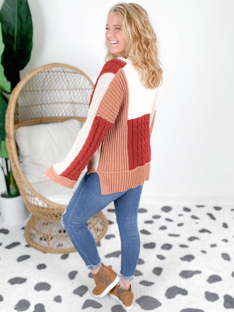 POL V Neck Multi Color Sweater