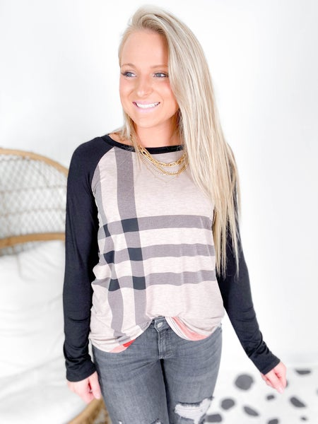 PLUS/REG Mocha Plaid Top with Suede Elbow Patches