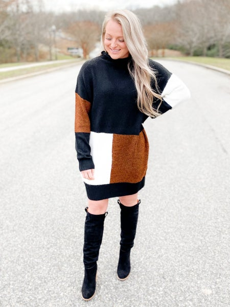 Color Block Mock Neck Sweater Dress