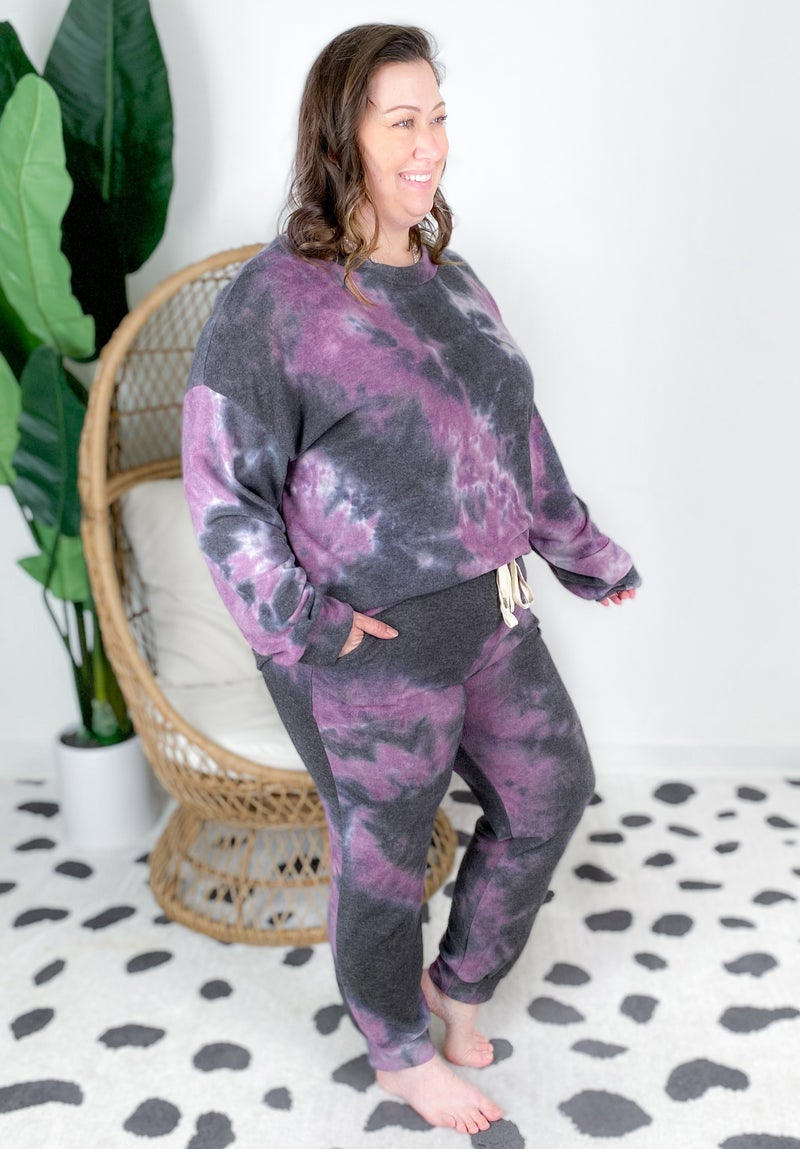 PLUS/REG Purple Tie Dye Knit Lounge Set