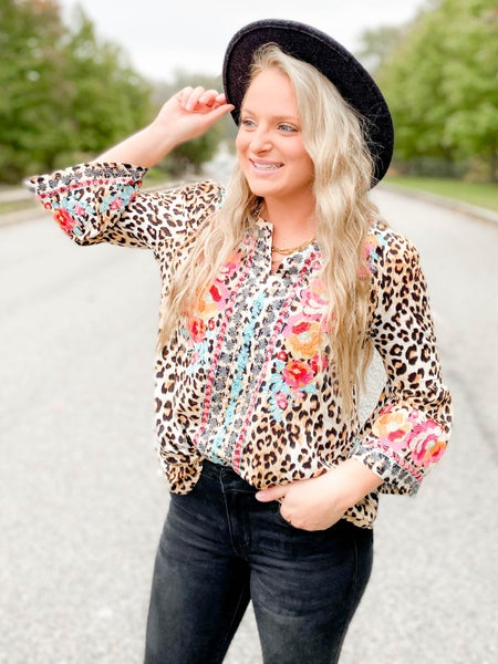 PLUS/REG Bell Sleeve Leopard Top With Embroidery Detail (Multiple Colors)