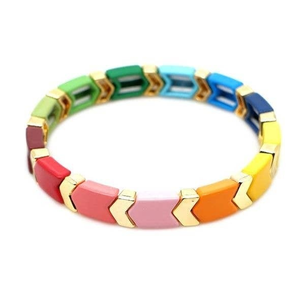 Rainbow Arrow Enamel Tile Bracelet