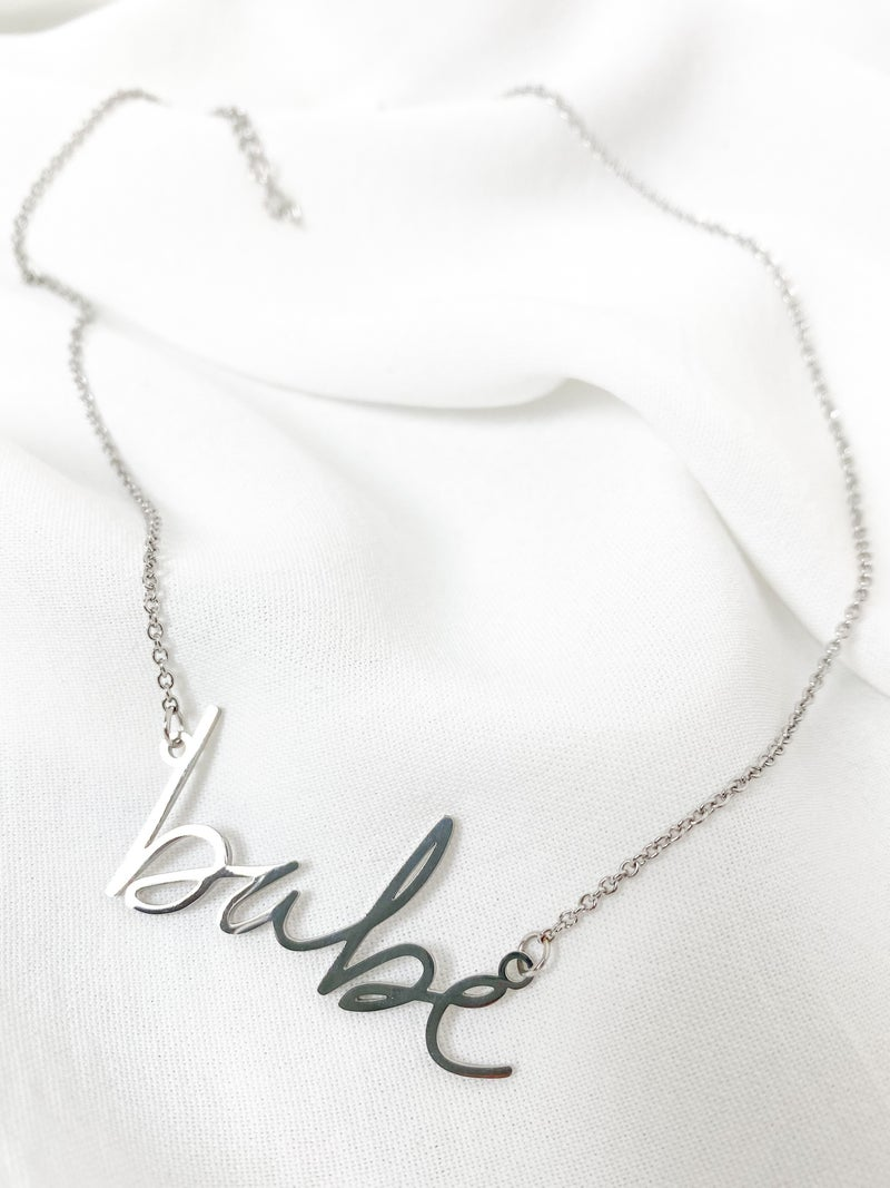 Cursive 'babe' Necklace (Multiple Colors)