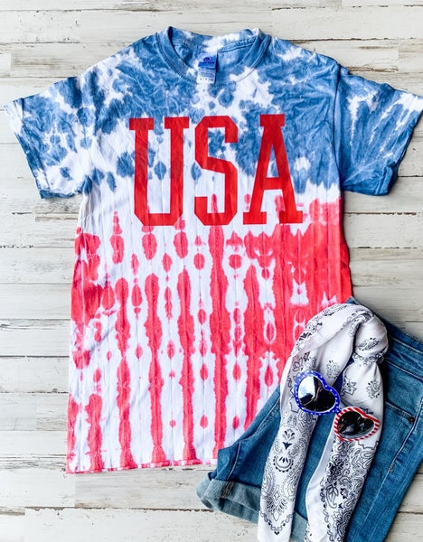 Tie Dye Red USA Graphic