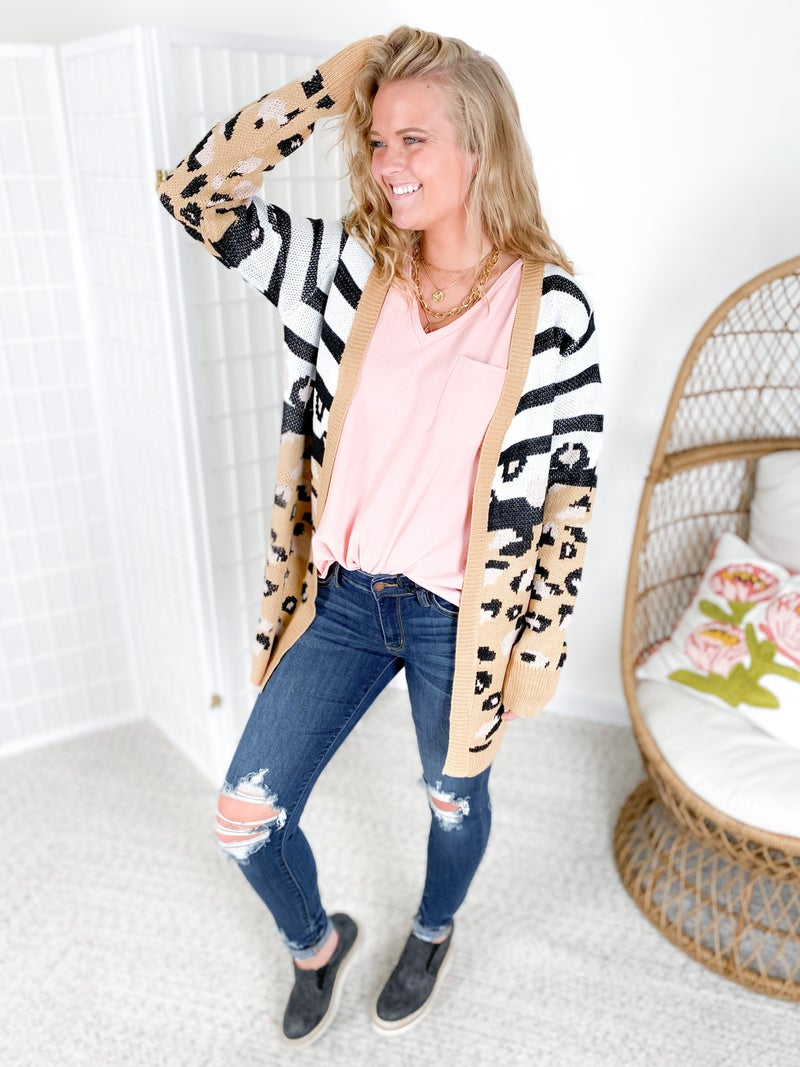 Stripe & Leopard Open Long Cardigan
