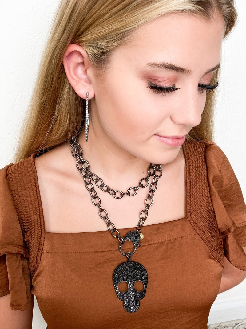 """Karli Buxton 36"""" Large Link Gunmetal Chain with Pave Clasp"""