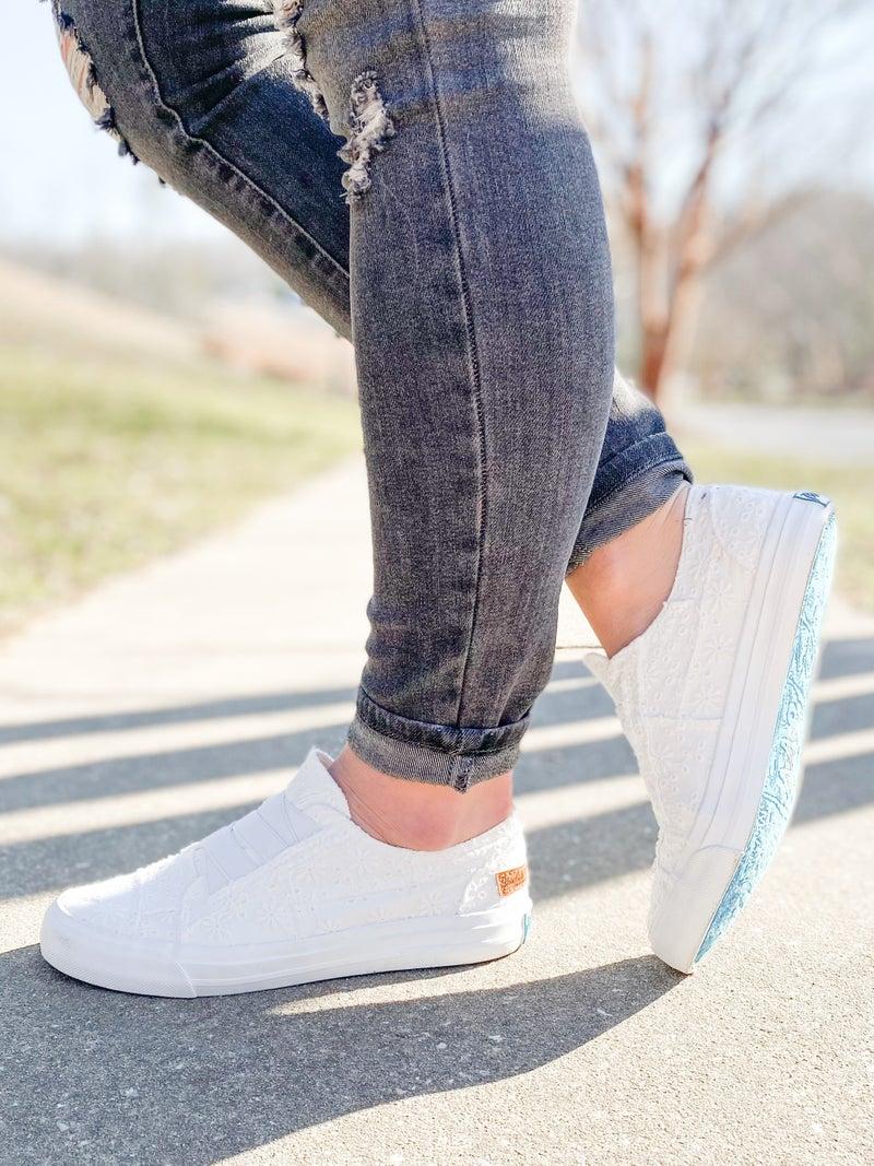 Blowfish Off White Floral Eyelet Slip On Sneakers
