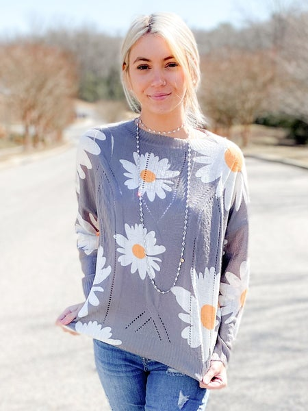 NEW COLOR! PLUS/REG Floral Print Crew Neck Sweater
