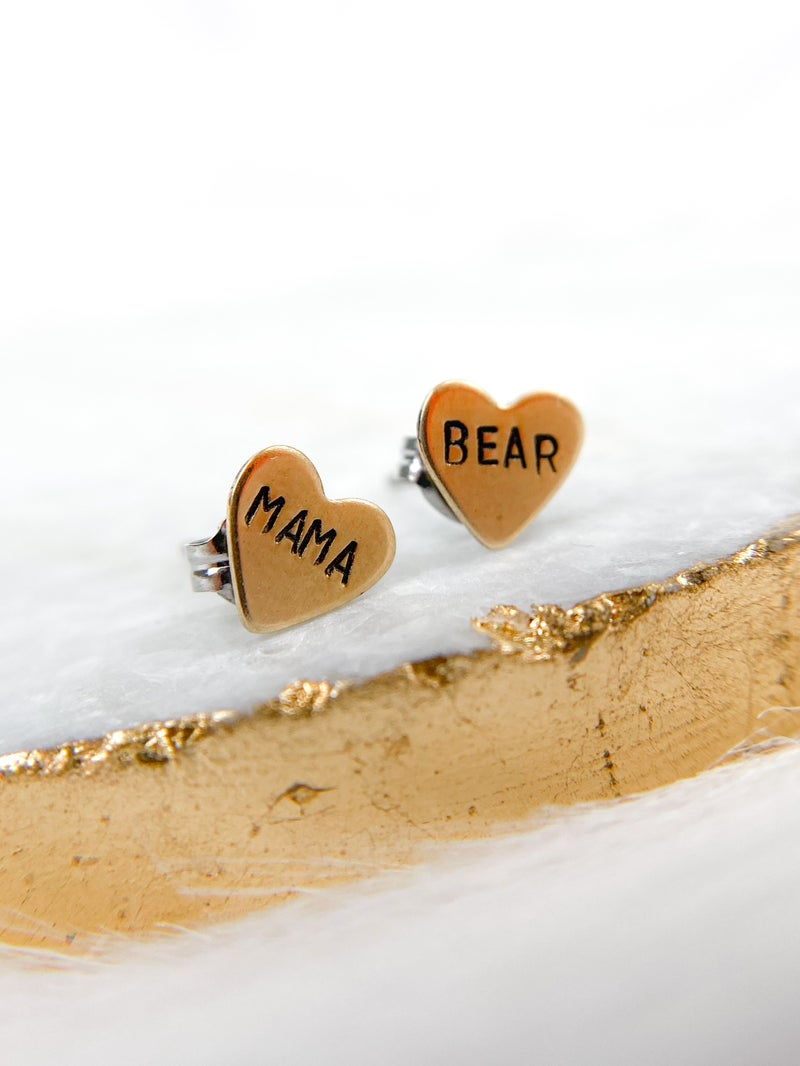 'Mama Bear' Hand Stamped Heart Earrings