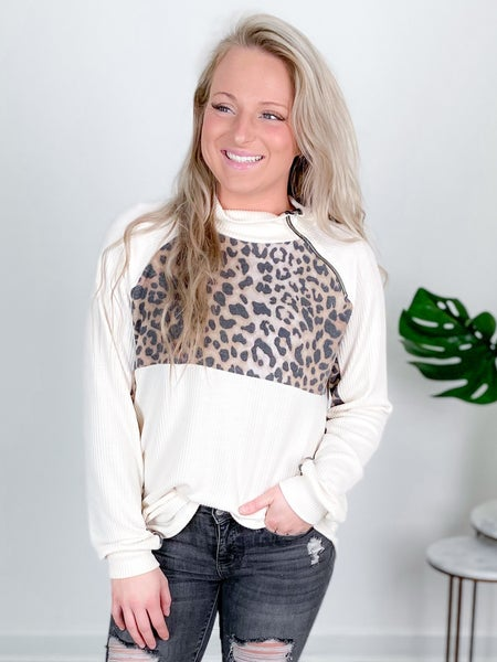 Ribbed Knit With Leopard And Side Zipper Detail (Multiple Colors)