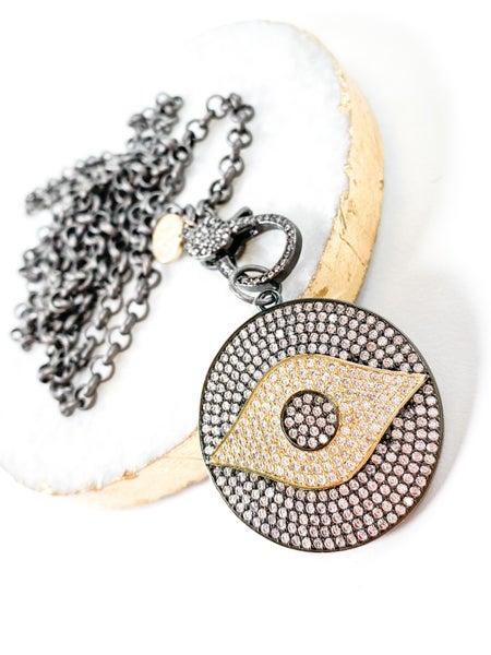 Karli Buxton Pave Gold & Gunmetal Evil Eye Pendant