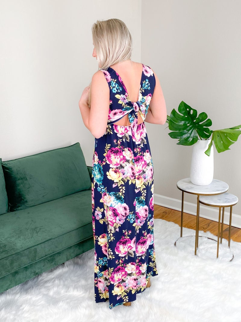 Floral Sleeveless Maxi Dress With Open Tie Back