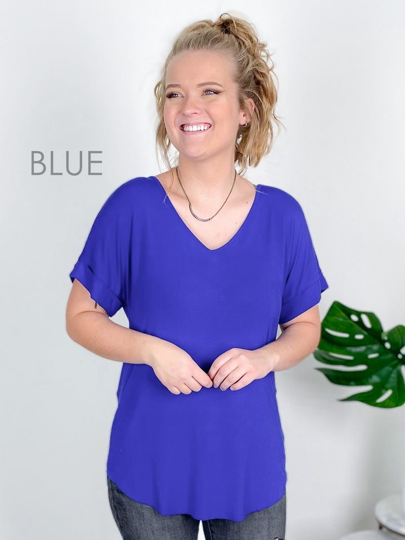 Door Buster! PLUS/REG Zenana Short Cuff Sleeve V Neck Top (Multiple Colors)