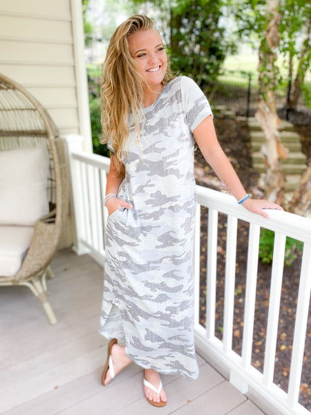 PLUS/REG Camouflage Knit Maxi Dress