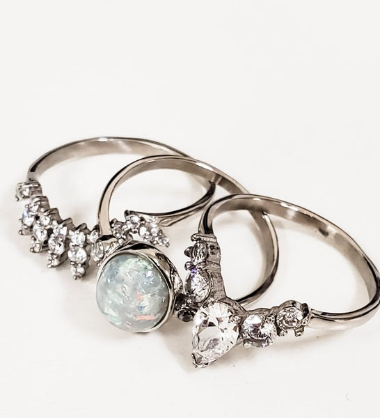 Victoria's Opal Triple Ring (Multiple Colors)