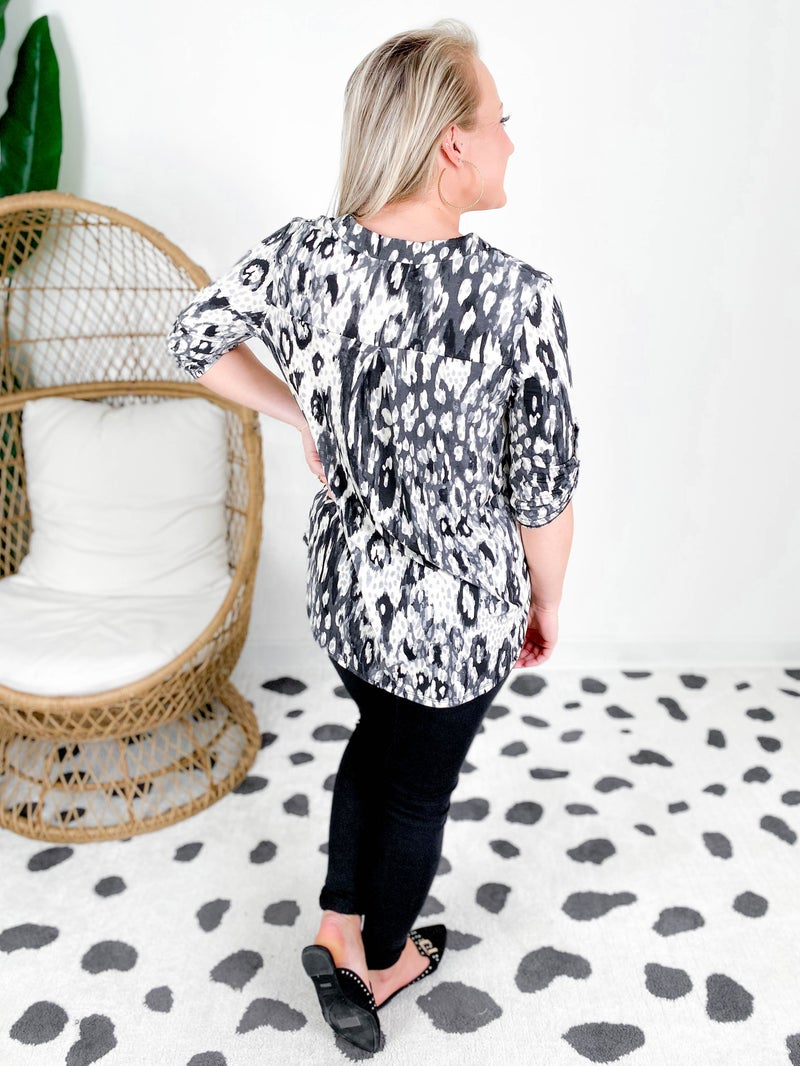 Mix Print Top With Roll Up Sleeve