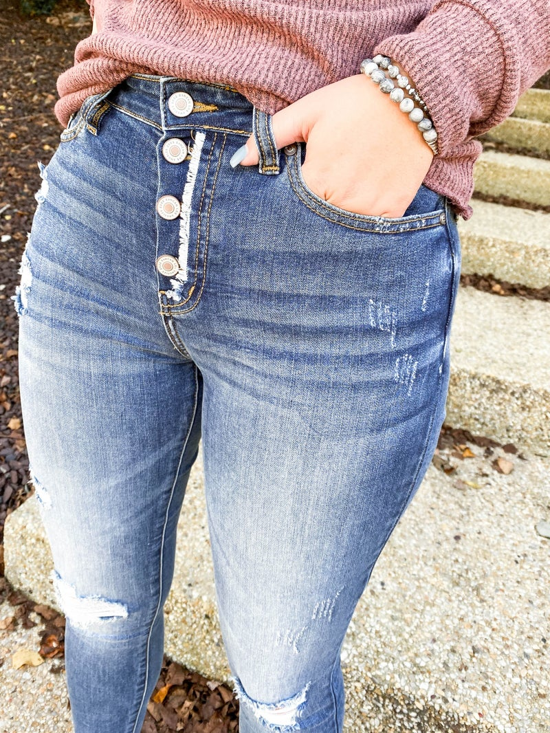 Kancan Jessie's Girl Distressed Button Fly Skinny Jeans