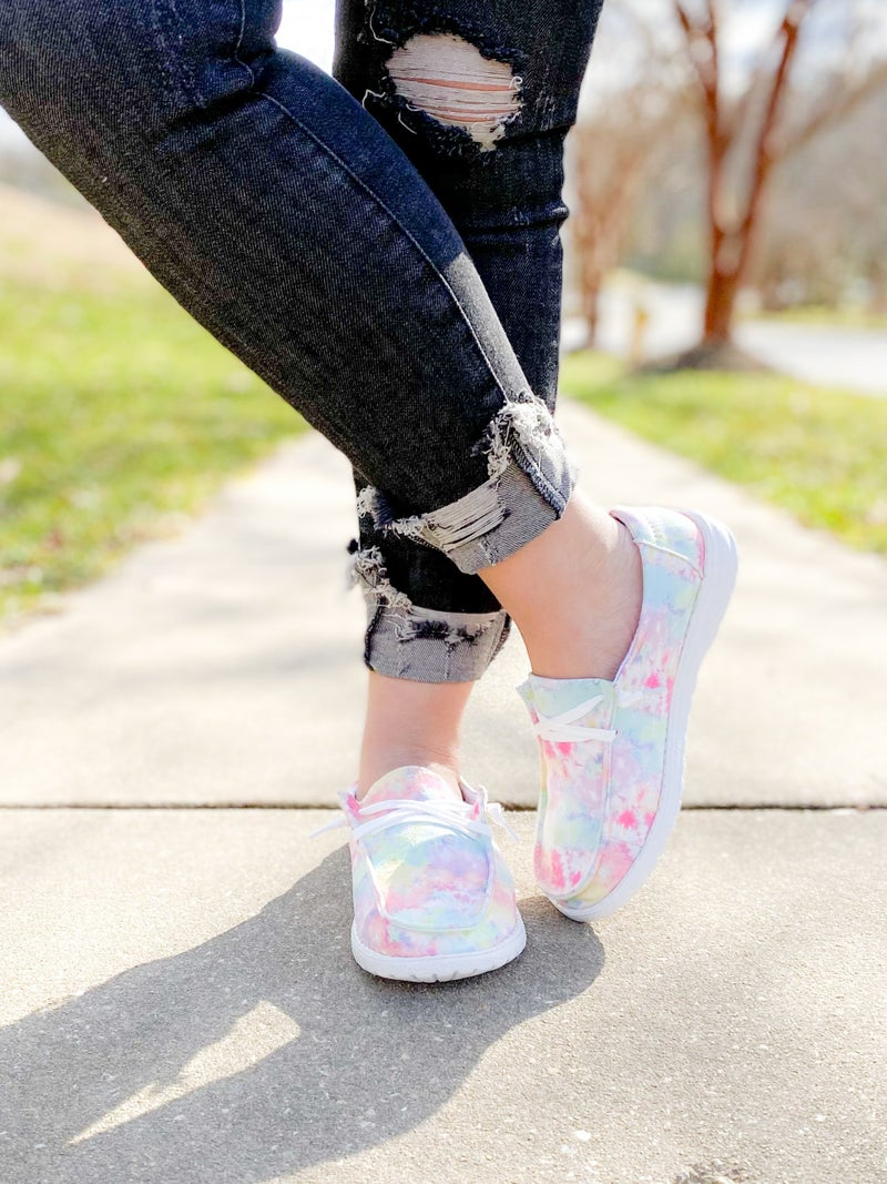 Tie Dye Hey Girl Slip On Sneakers