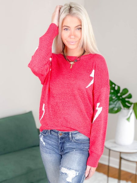 Solid Long Sleeve Sweater With Lightning Bolt Detail (Multiple Colors)