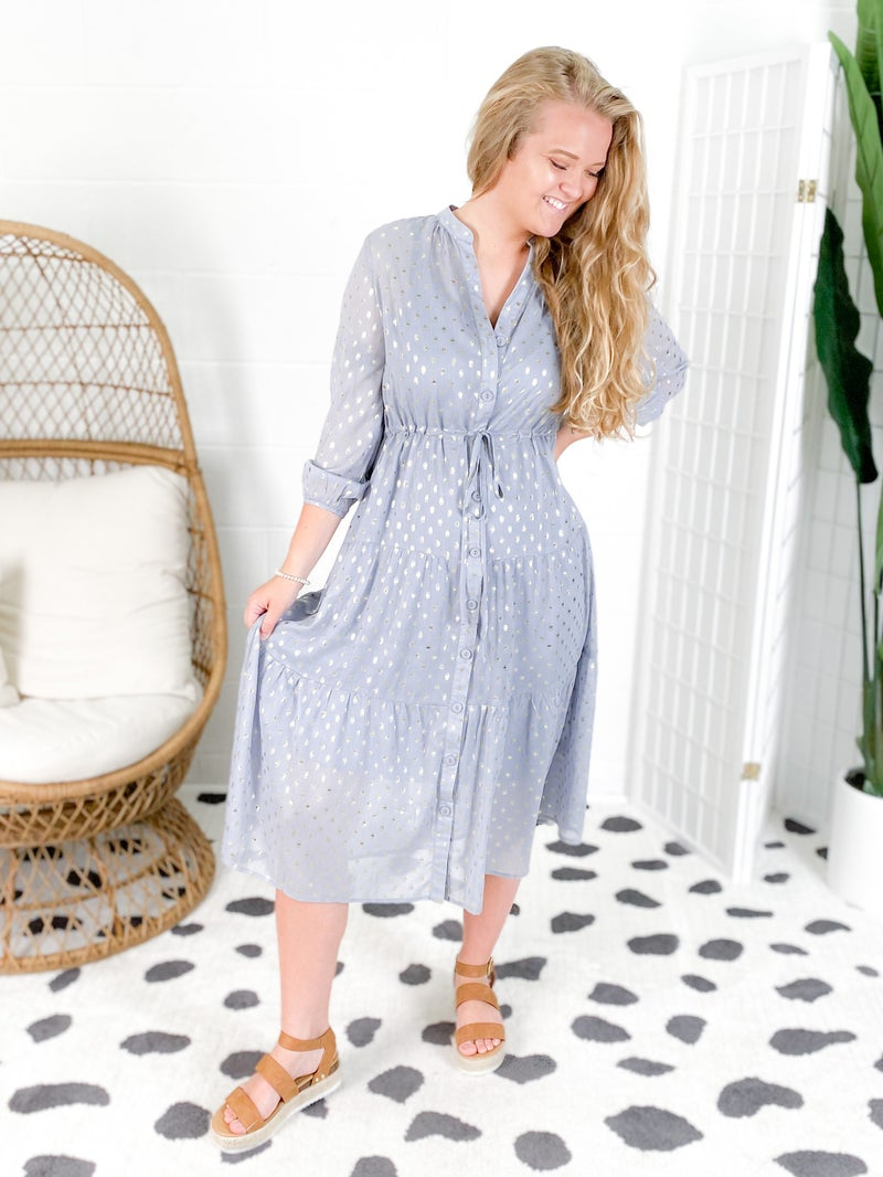 Foil Polka Dot Tiered Midi Dress (Multiple Colors)