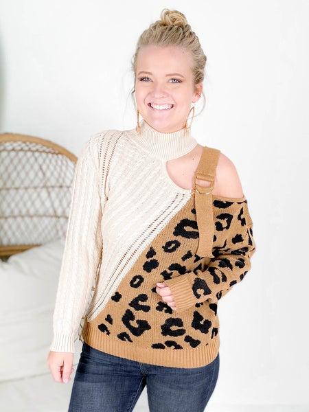 PLUS/REG Leopard & Beige Cold Shoulder Sweater Top