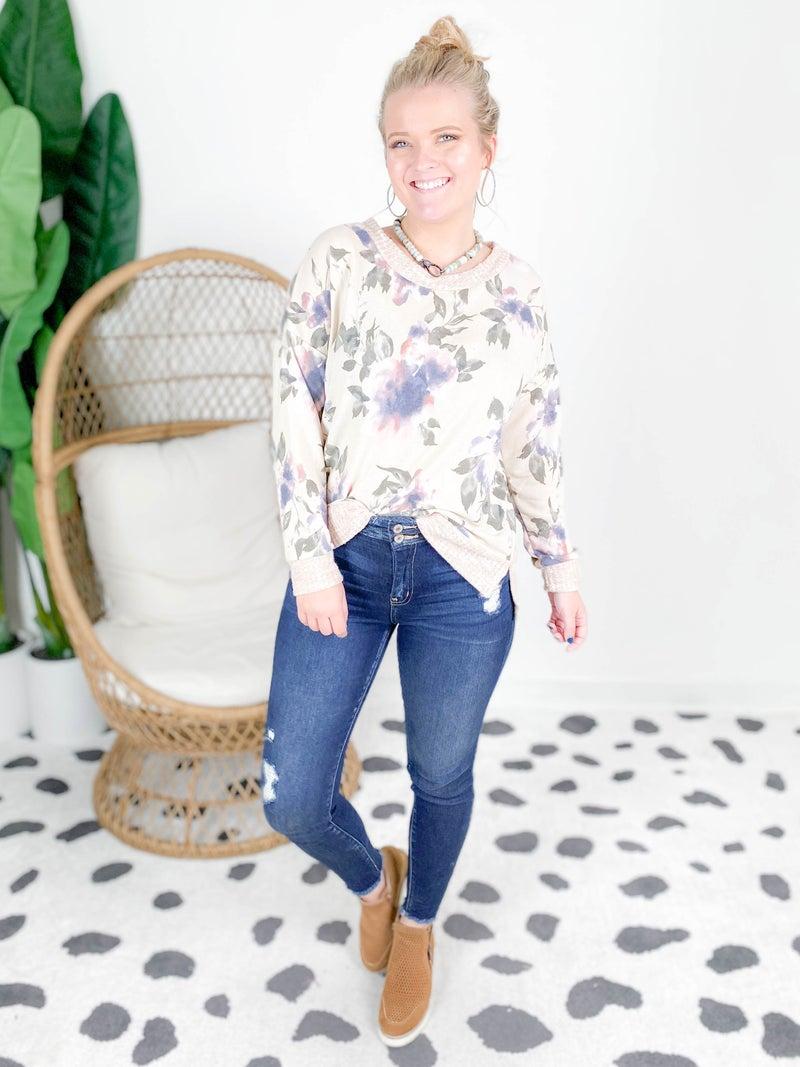 PLUS/REG Floral Beige Top With Waffle Knit Trim