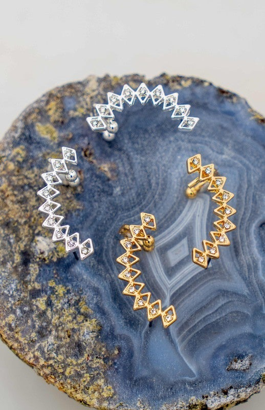 Geo Shape Ear Cuffs with Rhinestones (Multiple Colors)