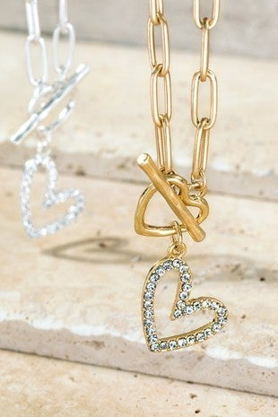 Chain Necklace with Toggle Closure & Pave Heart Charm (Multiple Colors)
