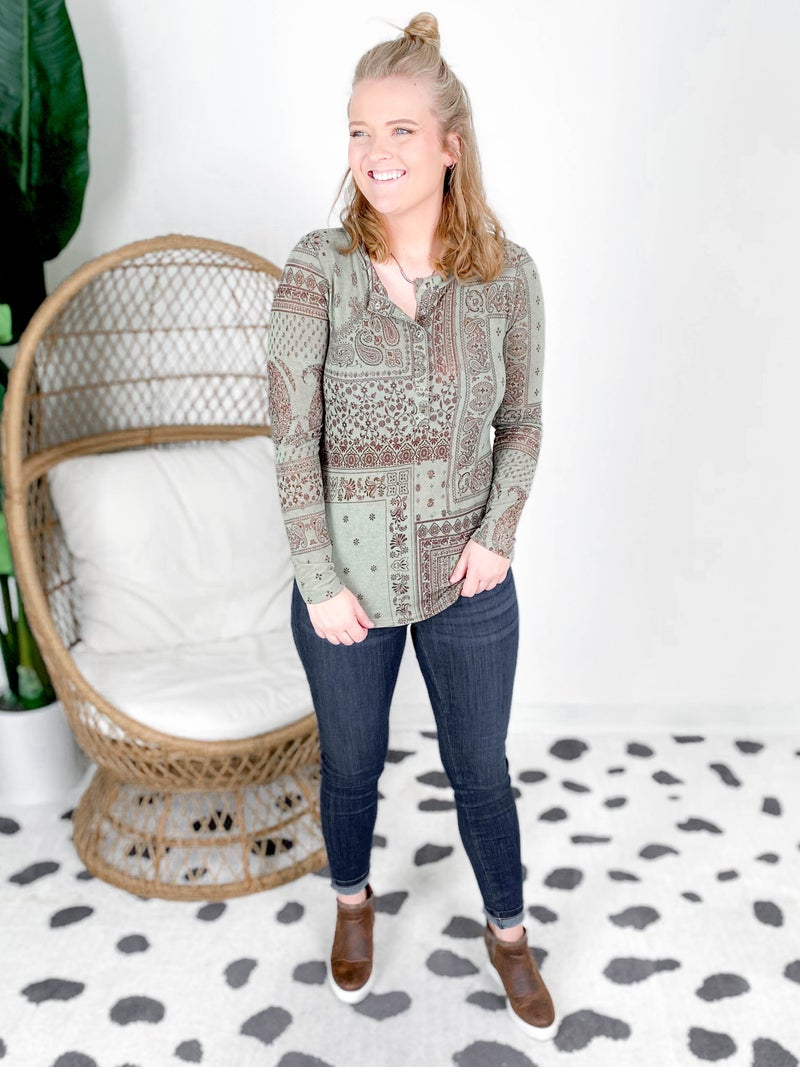 Paisley Print Snap Button Down Long Sleeve Top (Multiple Colors)