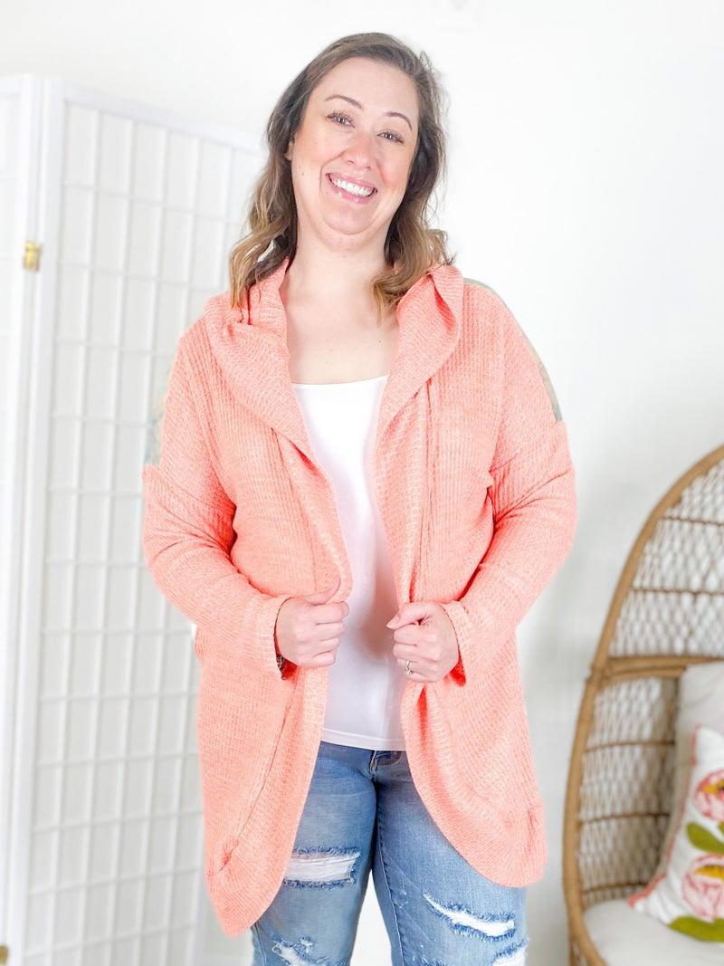 PLUS/REG Orange Waffle Knit Open Cardigan with Tie Dye Back