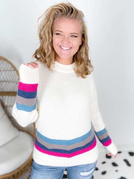 Ribbed Crew Neck Striped Sweater (Multiple Colors)