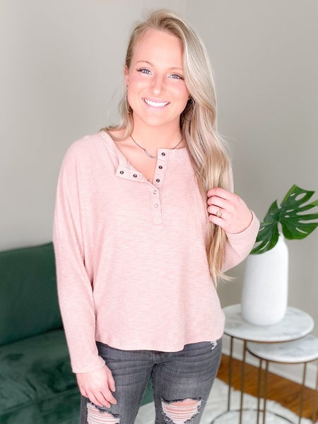 Solid Ribbed Henley Top With Snapped Buttons (Multiple Colors)