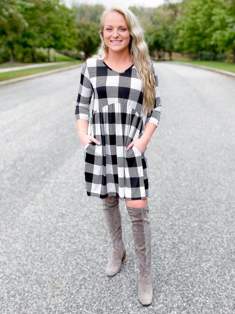 PLUS/REG Buffalo Plaid Babydoll Dress (Multiple Colors)