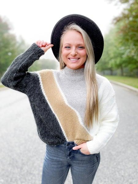 RESTOCK!! Diagonal Color Block Sweater (Multiple Colors)