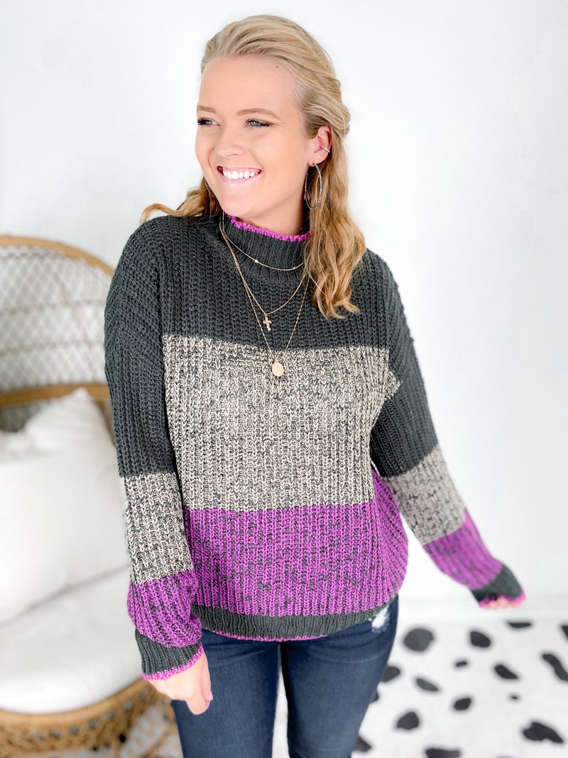 Color Block Striped Sweater With Mock Neck (Multiple Colors)
