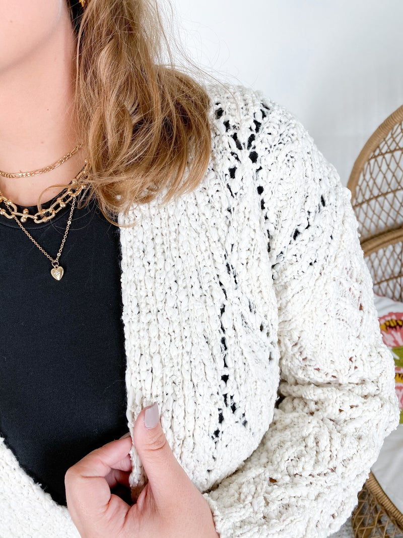 Diamond Open Knit Sweater Cardigan (Multiple Colors)