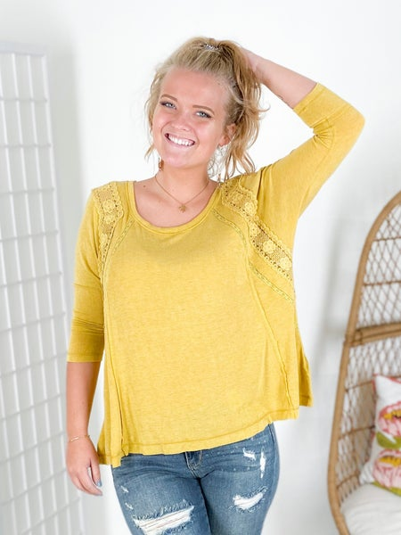 Smocked Back Lace Inset Top (Multiple Colors)