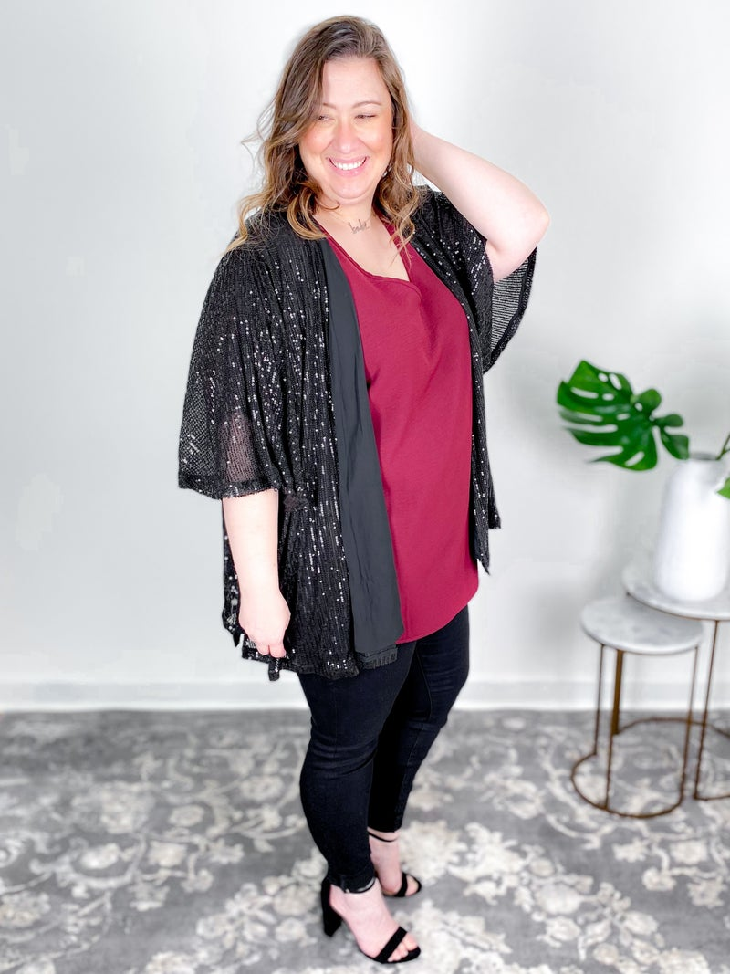 PLUS/REG Sequin Open Kimono (Multiple Colors)
