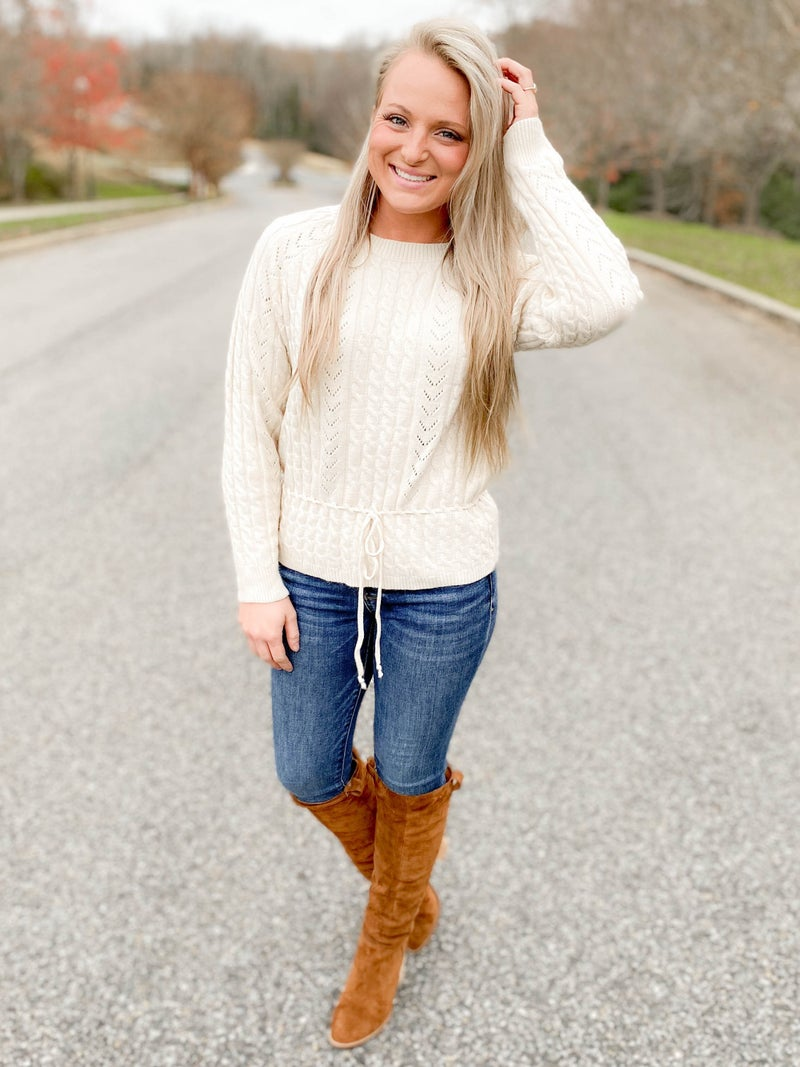 Long Sleeve Cable Sweater With Drawstring Front Detail (Multiple Colors)