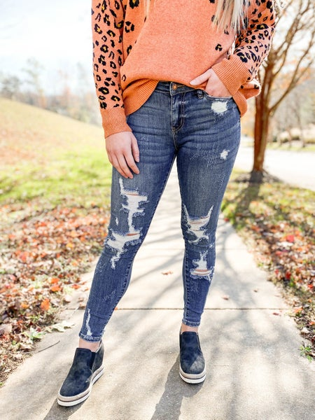PLUS/REG Good Day Sunshine Judy Blue Heavy Distressed Skinny Jeans