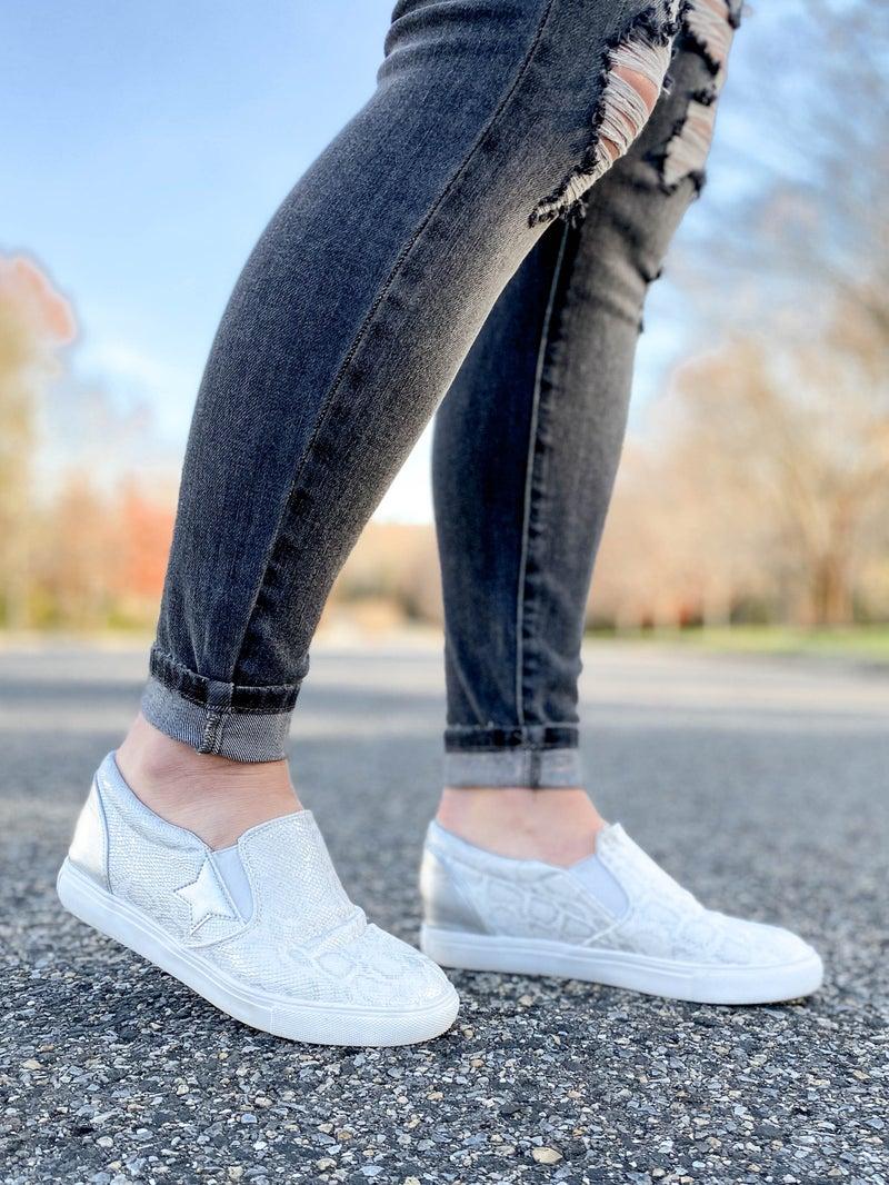 Silver Snake Slip On Sneakers